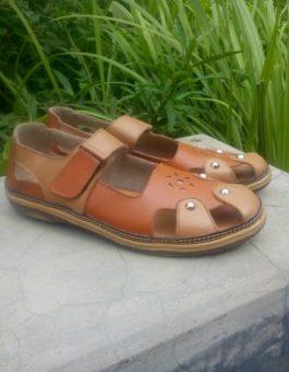 Sandal Sepatu Kulit Magetan Terbaru Warna Tan MS2